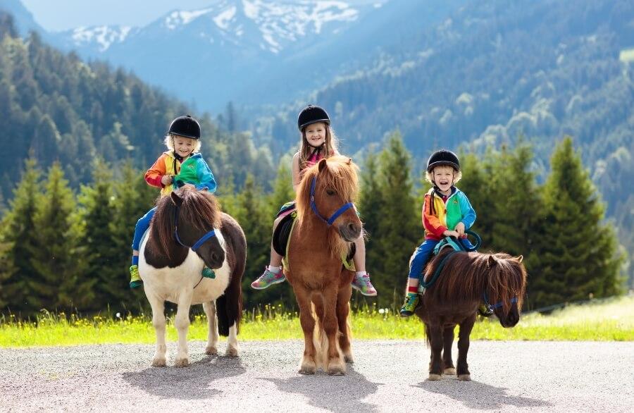 drei-kinder-auf-ponys-in-den-alpen