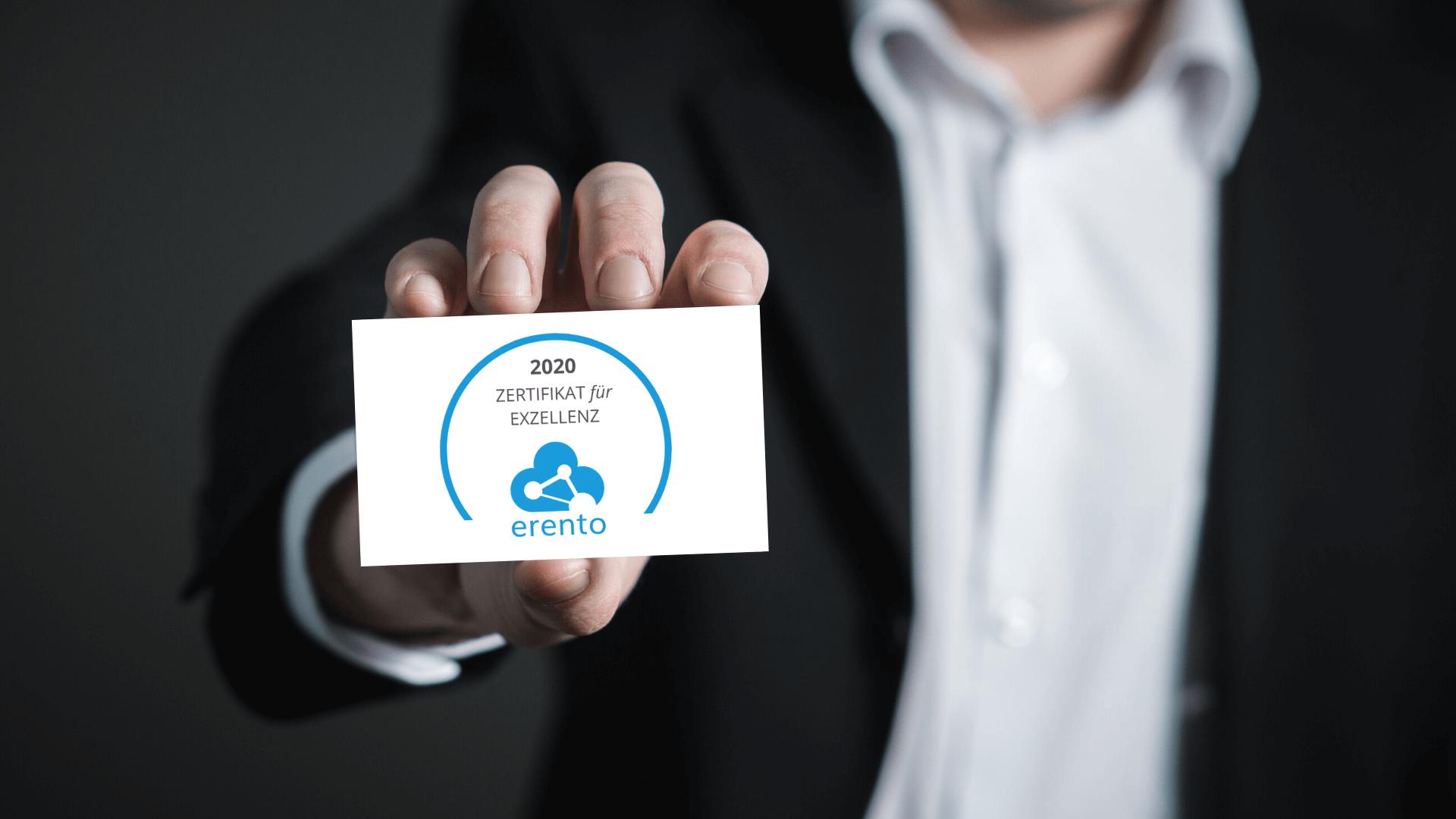 Erento Exzellenz Zertifikat als Businesscard